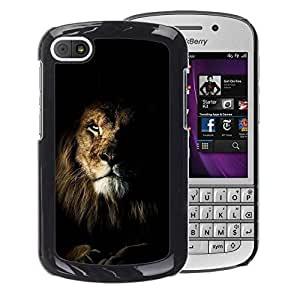 A-type Arte & diseño plástico duro Fundas Cover Cubre Hard Case Cover para BlackBerry Q10 (Lion Black Nature Mane Roar King Cat)