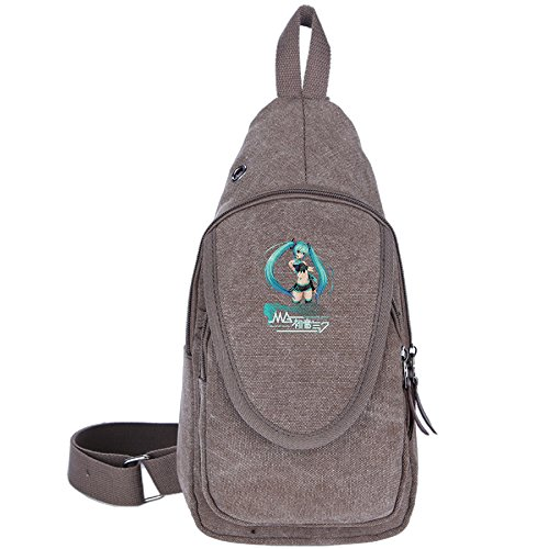 Price comparison product image Crazy Cool Casual Canvas Unbalance Backpack Sling Bag Shoulder Bag Chest Bag For Men & Women--VOCALOID Hatsune Miku