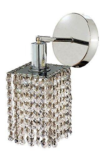 Elegant Lighting 1281W-R-P-CL/SS Swarovski Elements Clear Crystal Mini 1-Light Crystal Wall Sconce, Finished in Chrome with Clear Crystals Model-1281W-R-P-CL/SS