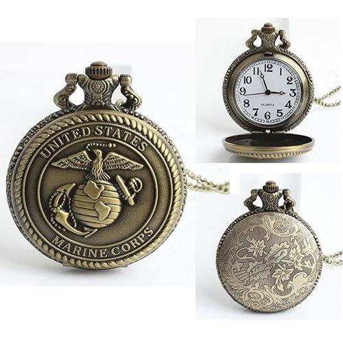Aland Pocket Watch,Men's United States Eagles Marine Corps Retro Style Bronze Quartz Pocket Watch