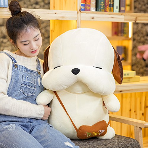 Lovely Embroidery Cuddly Ins Cartoon Cute Puppy Dog Stuffed Animals 3D Plush Lumbar Soft Hugging Figure Bolster Bed Cushion Nursery Home Office Decor Baby Play Toy Sleeping Throw Pillow Gift White by ORGEN HOME (Image #3)
