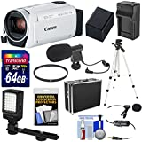 Canon Vixia HF R800 1080p HD Video Camera Camcorder (White) 64GB Card + Battery & Charger + Hard Case + Tripod + LED Light + 2 Microphones Kit