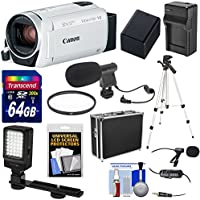 Canon Vixia HF R800 1080p HD Video Camera Camcorder (White) with 64GB Card + Battery & Charger + Hard Case + Tripod + LED Light + 2 Microphones Kit