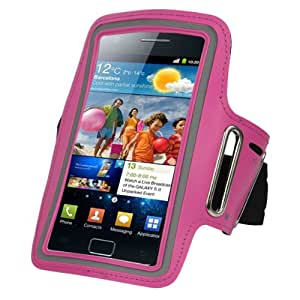 Sanheshun Running Sport Gym Adjustable Armband Case Cover Compatible with Samsung Galaxy S2 II i9100 (Rose)