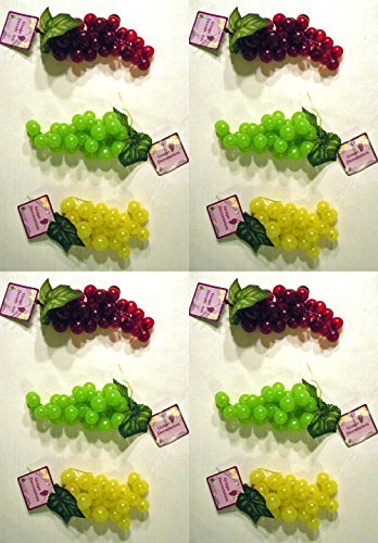 Set of 12 Faux Artificial Grapes! 12 Bunches in 3 Different Colors! Red, Yellow, Green! Bunch Of Grapes