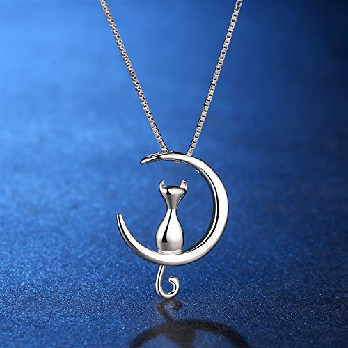 ANEWISH Fine Jewelry Moon cat Pendant Necklace S925 Sterling Silver perfect Gift for Fashion Women Girl by ANEWISH (Image #2)