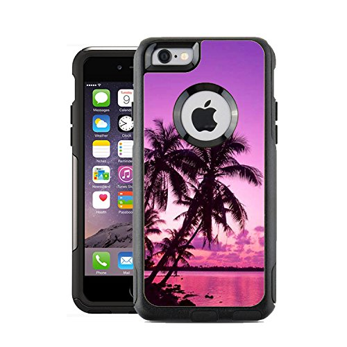 Protective Designer Vinyl Skin Decals / Stickers for OtterBox Commuter iPhone 6 PLUS / 6S PLUS Case Cover - Tropical Palm Trees Sunset Beach design patterns - Only SKINS and NOT Case- by [TeleSkins] (Sunset Cover)