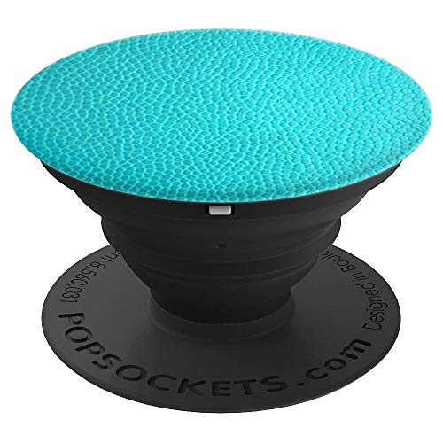 (Turquoise Pattern Phone Holder Aqua Teal Blue Vegan Leather - PopSockets Grip and Stand for Phones and Tablets)