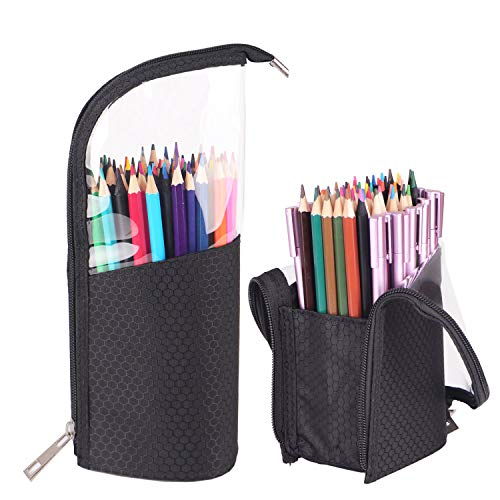 2 Pack Standing up Pencil case with 9 Elastics Slots, Standing Pen Brush Holder, 2-in-1 Travel Pencil Cosmetic Makeup Bag Travel Carry Case to Hold Fountain Pen Gel Pen Pencils Cosmetic Makeup Brushes