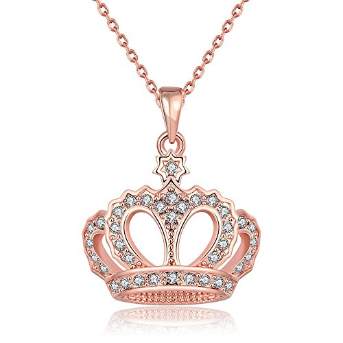 Elensan Women's Rose Gold Crown Necklace Fashion Jewelry Crystal Pendant Curb (Crystal Crown Charm Necklace)