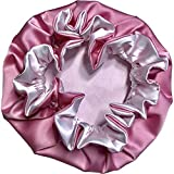 AKISS Reversible Satin Sleep Bonnet for Baby and Mommy (Taffy/White, 0~1 M)