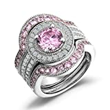 Caperci-3-Piece-Sterling-Silver-Round-CZ-Created-Pink-Sapphire-Bridal-Engagement-Wedding-Ring-Sets
