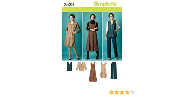 1aaac01db36cc9 Amazon.com  Simplicity Pattern 2539 Womens Jumper in 2 Lengths ...