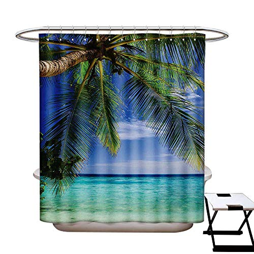 (Ocean Shower Curtain Collection by Tropical Paradise View at Maldives with Palms Clear Blue Sky Seashore Picture Patterned Shower Curtain W36 x L72 Green Aqua Blue )