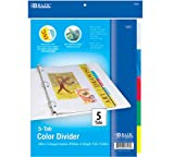 BAZIC 3-Ring Binder Dividers w/ 5-Insertable Color Tabs (Case of 24)