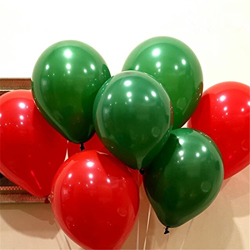 (50 pcs Latex Helium Round balloons Christmas balloon 12''2.8g Thick Pearl green red wedding balloons party Christmas decoration)