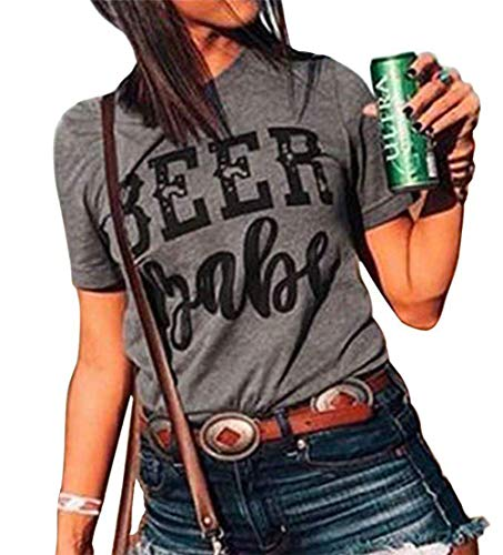 (MOMOER Beer Babe T Shirt Women Funny Drinking Short Sleeve Casual Summer Tops)