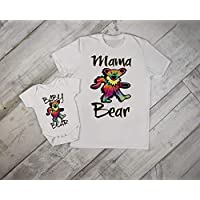 Grateful Dead Mama and Unisex Baby Mom Matching Set Onesie Tshirt Mommy Son Daughter Hippie Mothers Day Gift