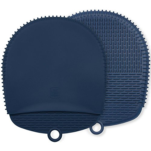 The Ultimate Pot Holders / Oven Mitts | 100% Silicone Mitt is Healthier Than Cotton & Easier to Clean, Won't Grow Mold or Bacteria | Unique Design Makes it Safe, Non-Slip, Flexible (Navy Blue, 1 Pair)
