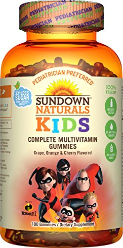 Sundown Naturals Kids Multivitamin Gummies, Incredibles 2 Shapes, 180 Count, Children's Gummy with Vitamin D, Vitamin C, Vitamin B6, Vitamin E, Chewable Vitamins for Kids in Fruit Flavors