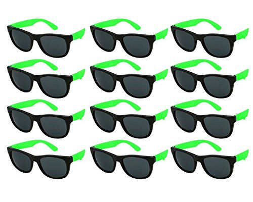Edge I-Wear 12 Pack School Kids Neon Sunglasses for 80's Style Party Sunglasses Party Favors 9402R/GN-12 ()