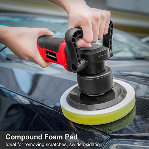 """Polisher, 6"""" Random Orbital Waxer/Buffer Kit With Dual-Action, Variable Speed, 3 Foam Pads for Car Waxing, Buffing and Polishing, Avid Power MEP127 by Avid Power (Image #4)"""