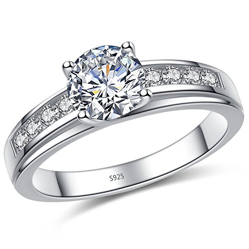 Mabella Solid 925 Sterling Silver Solitaire Round CZ Cubic Zirconia Engagement Ring for (925 Sterling Silver Solitaire)