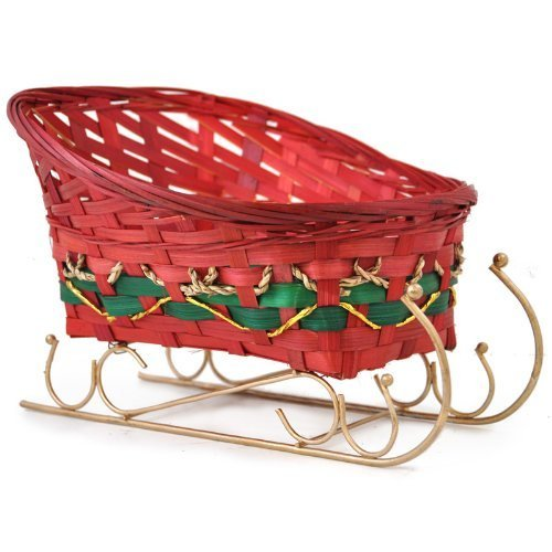 The Lucky Clover Trading Red Holiday Bamboo Sleigh Basket