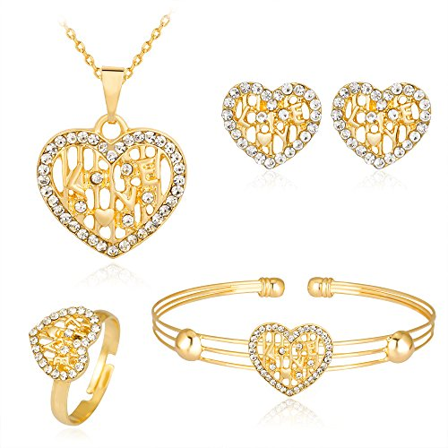Dcfywl731 Exquisite Gold Crystal Queen Princess Crown Necklace Earring Bangle Ring Jewelry Set for Girls (Heart Set) ()