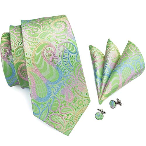 Hi-Tie Men Pink Green Paisley Floral Tie Necktie with Cufflinks and Pocket Square Tie Set