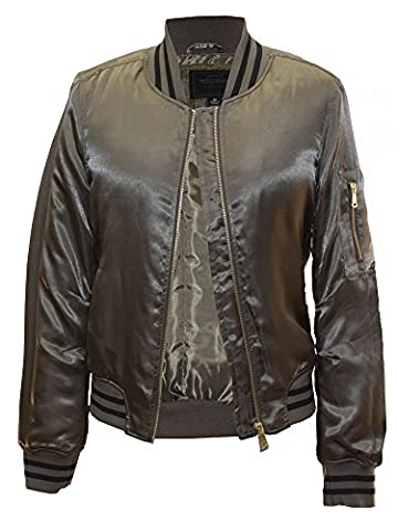Miss London Ladies Womens Juniors Satin Poly-Filled Varsity Bomber Flight Jacket With Striped Rib W/Zipper Sleeve Pocket - Army - Satin Puffer