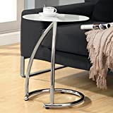 Monarch Specialties I 3003 Chrome Metal and Frosted Tempered Glass Accent Side Table