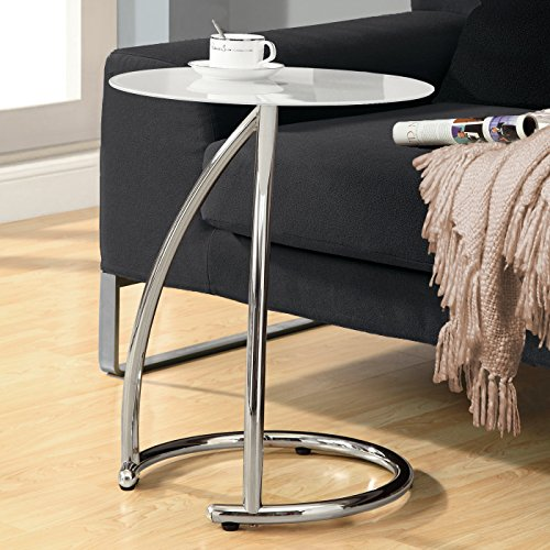(Monarch Specialties Chrome Metal and Frosted Tempered Glass Accent Side Table)