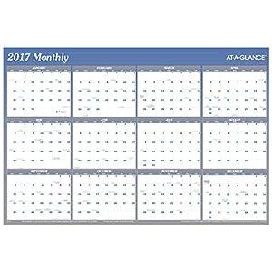 Amazon.com : AT-A-GLANCE Wall Planner Calendar 2017, Erasable ...