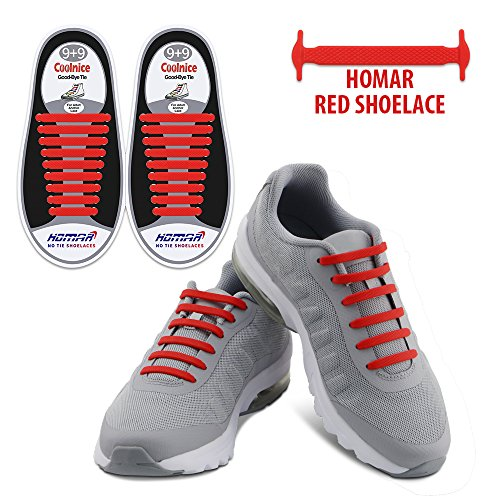 Homar Reflective No Tie Shoe Laces - Best in Alternative Shoelaces - Safty Dirtproof Waterproof Rubber Shoelaces Perfect for Sneaker Boots Oxford and Casual Shoes - (Boots Shoes For Kids)