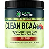 Clean BCAA - Natural Food Sourced Vegan BCAAs & Organic Coconut Water Electrolytes - Vegan Amino Acid Supplement - Fruit Punc