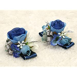 Charming Flower Boutonniere Pins for Wedding prom (2pcs) (Navy blue theme) 99