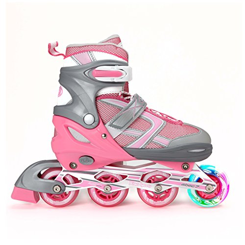XinoSports Premium Adjustable Inline Skates for Girls - Featuring Illuminating Front Wheels, Awesome-looking, One-of-a-Kind, Comfortable & Durable Rollerblades by XinoSports
