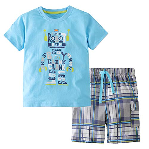 Frogwill Toddler Boys The Little Monster Truck Tee and Shorts Set 18M-7Y (7 Long, Robot) ()