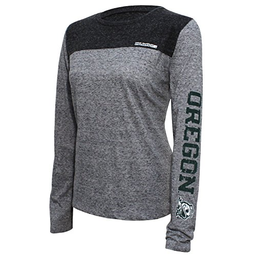 NCAA Oregon Ducks Women's Campus Specialties Long sleeve Tee, Small, Heather/Dark (Virginia State Duck)
