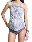 Oceanlily Halter Women's Swimsuit Tankini TOP Charcoal/W PRT M