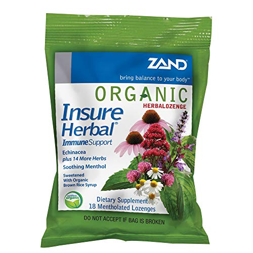 Zand HerbaLozenge Organic Insure Herbal | Throat Lozenges W/Echinacea | No Corn Syrup, No Cane Sugar, No Colors | 1 Bag, 18ct.