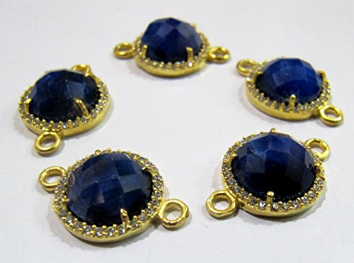 Blue Sapphire Round Briolette Connectors With Pave CZ Gold Plated / Double Loop Size 13 mm Faceted Gemstone Pendant / Pave Link Connectors