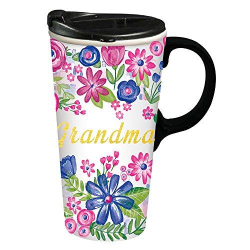 Cypress Home Grandma Ceramic Travel Coffee Mug, 17 ounces