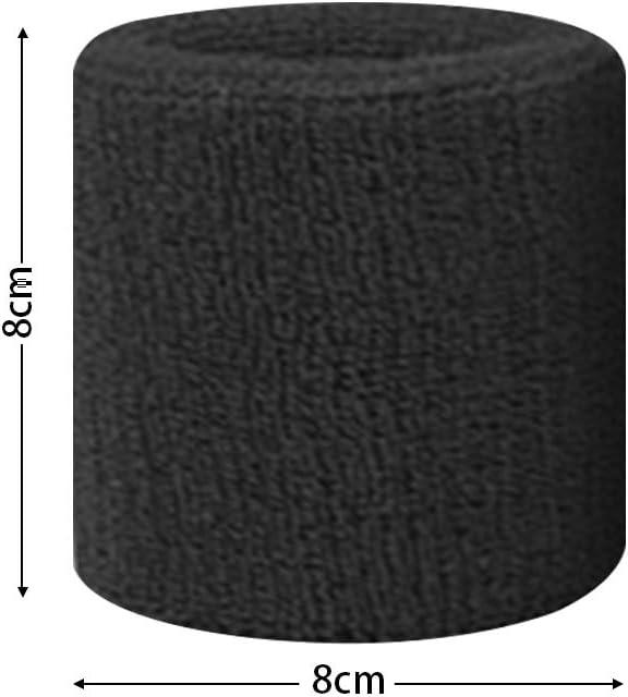 busirde 1x Unisexe Tissu /éponge Coton Sweatband Sport Poignet Tennis Yoga Sweat Bracelet Noir