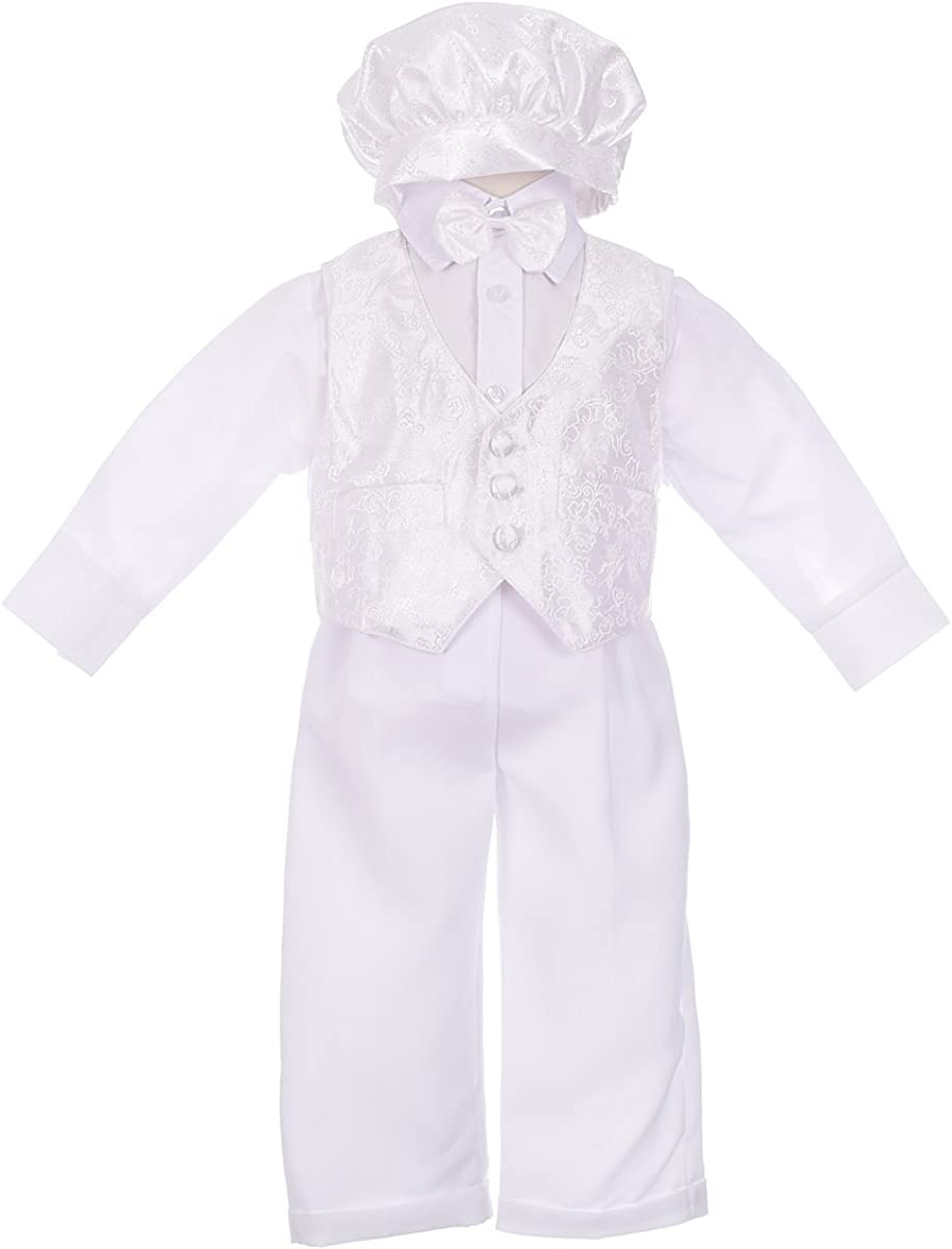 Lito Angels Baby Boys' Christening Baptism Outfit Suit with Vast Cap 5-Piece Set