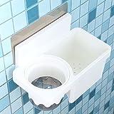 Adhesive Toilet Brush and Holder,Sticky Toilet Bowl Cleaner Holder, Multipurpose Wall Mount Toilet Organizer,White