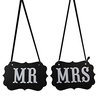 Rabott 2Pcs/Set Mr Mrs Bride Groom Letters Sign Banner DIY Decor Photo Prop Wedding Decoration Chair Decor