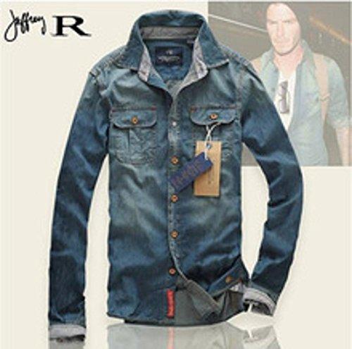 f38df797c32 Cotton Men Jeans Shirt Men Casual Shirt Slim Fit Long-sleeves Denim Clothing  - Buy Online in Lebanon.