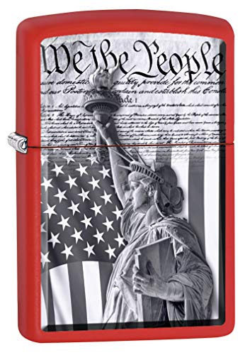 Zippo Lighter: Constitution and Statue of Liberty - Red Matte 79986 ()